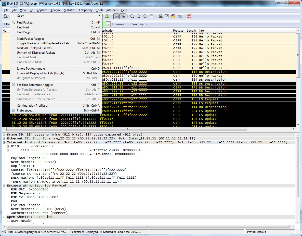IPv6 OSPFv3 ESP Packets and Decrypting with Wireshark