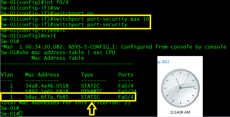 FIgure 7: Enable port security facing the hub