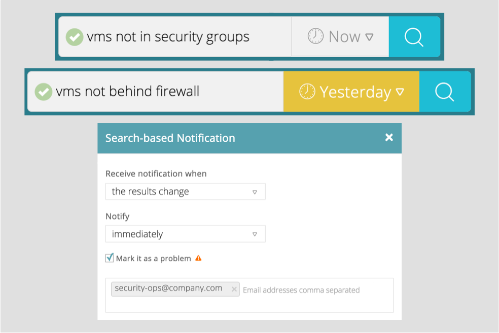 Proactive alerting on inconsistent and non-compliant state: Arkin platform is built on a datacenter semantics aware search engine. Users can compose searches using plain English and convert them to instant alerts. Tying the notification back to the orchestration layers can provide instant mitigation and proactive prevention of inconsistent and undesired security state.