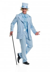 Pulling off the blue tux.
