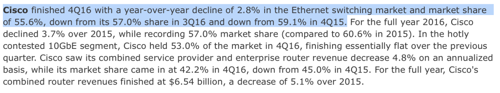 Cisco Market Share IDC Q1-2107