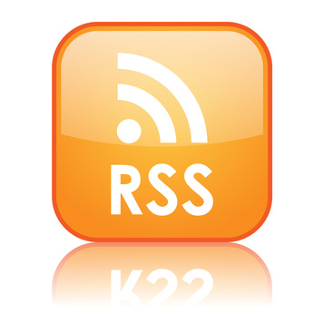 """Square """"RSS"""" button with reflection (orange)"""
